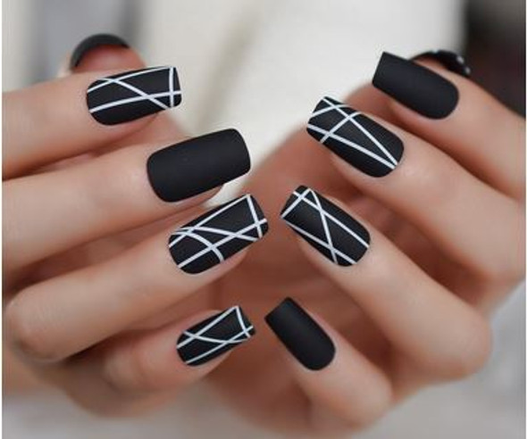 24PCS Matt Black Designed Press on Nails