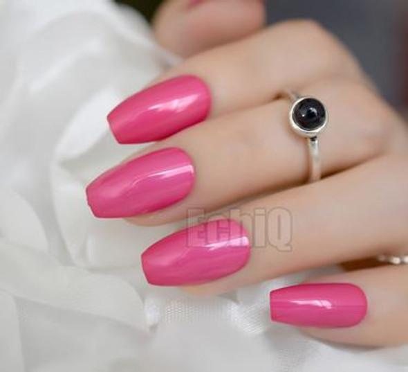 24PCS Hot Pink Metallic Designed Press on Nails