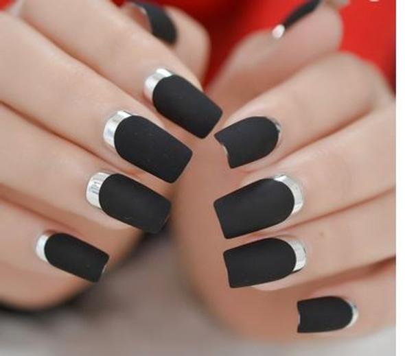 24PCS Black Matte Silver Moon Press on Nails