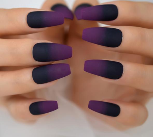 24PCS Dark Purple Matte Ombre Medium Press on Nails