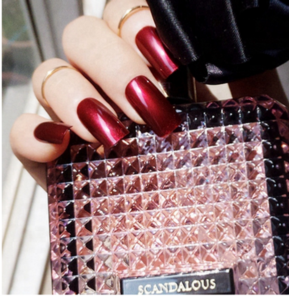 Red Wine Shiny Medium Square Press on Nails
