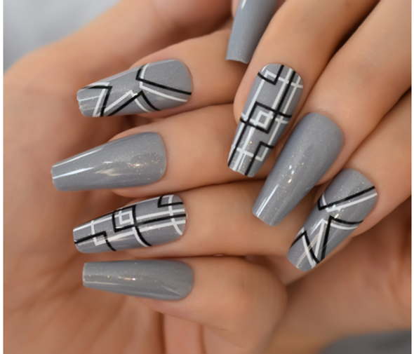 Decorated Gray w/Pattern Long Coffin Press on Nails