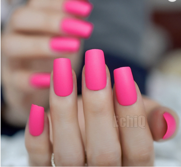 Hot Pink Frosted Square Medium Press on Nails