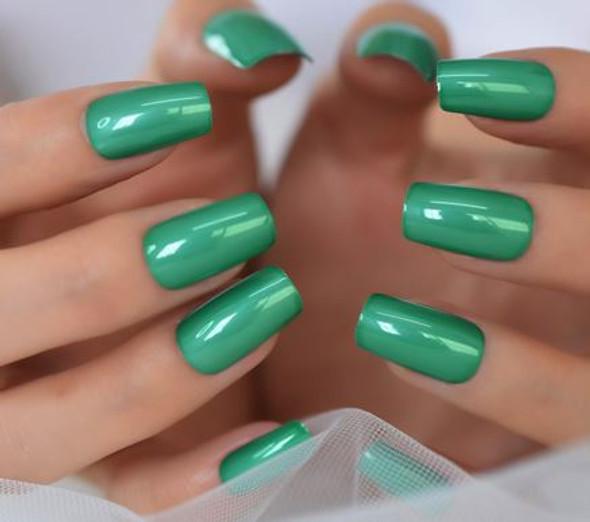 Shiny Green Medium Squoval Shaped Press on Nails