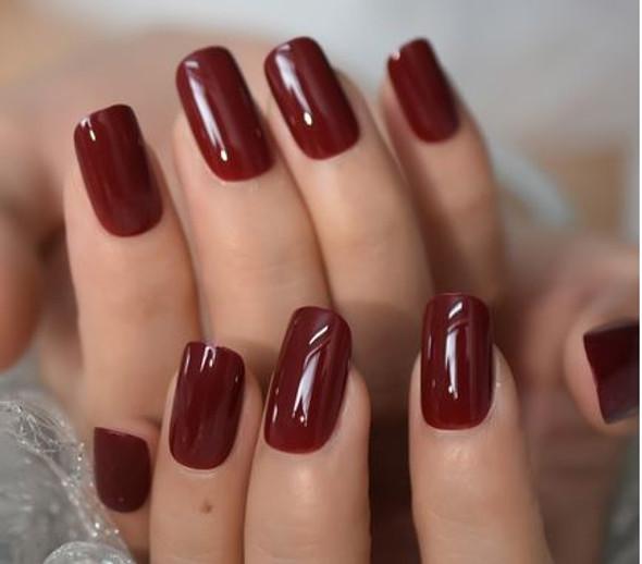 Shiny Dark Red Medium Squoval Shaped Press on Nails