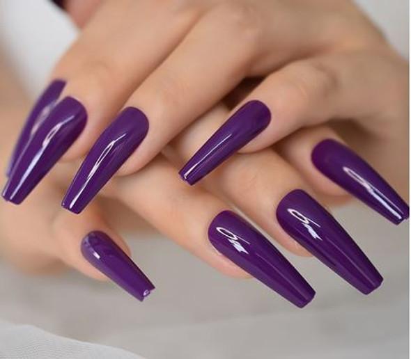 Shiny Deep Purple Long Coffin Shaped Press on Nails