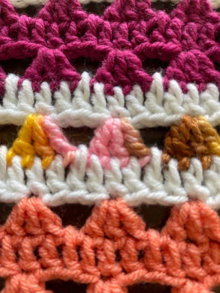 Autumn Delite Hand Crochet Blanket. 80x82