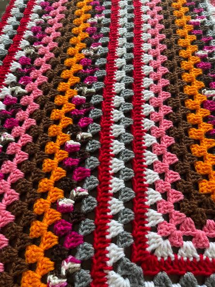 Pumpkin Patch Hand Crochet Blanket. 78x82