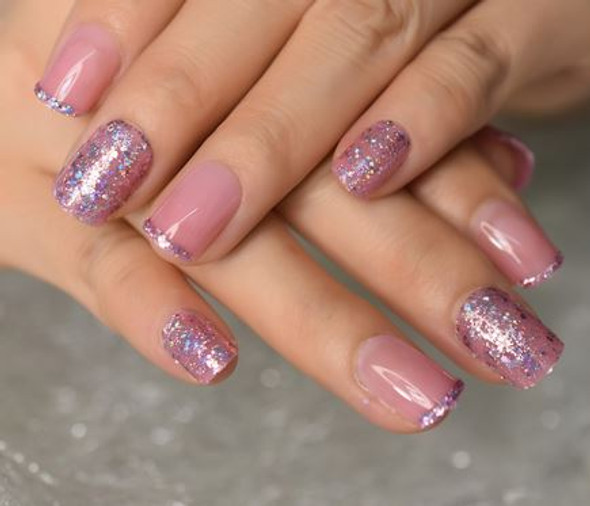 Light Pink Short Squoval Shaped Press on Nails