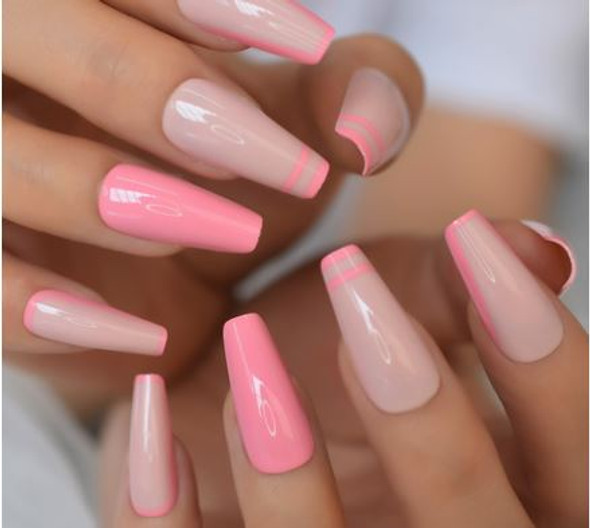 Nude Pink Decorated Long Coffin Shaped Press on Nails