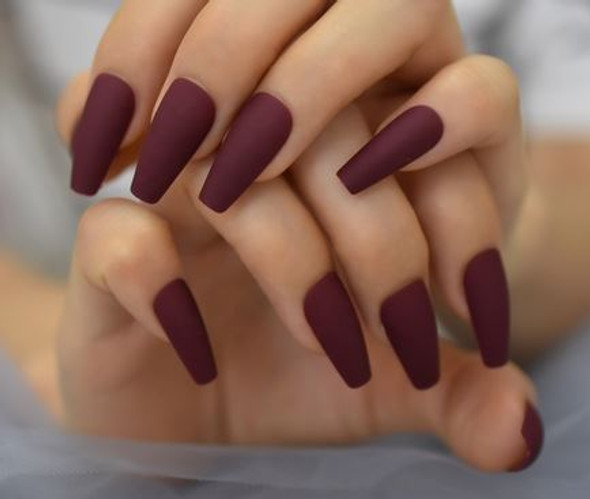 Dark Red Matte Long Tapered Shaped Press on Nails