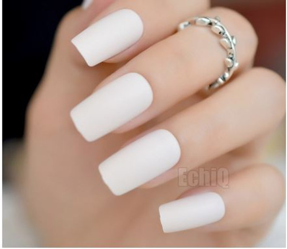 Light Cream Matte Square Medium Press on Nails