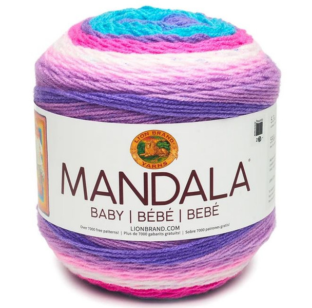 Mandala® lovers rejoice! Mandala® Baby is the newest member of the Mandala Family. With 12 bright happy color combinations of your CYC 3 yarn, one cake is enough to make baby sweaters or stroller blankets.