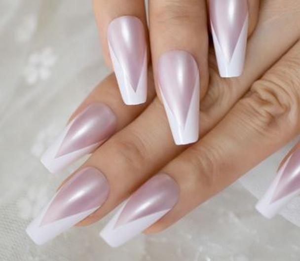 24PCS V Shape Pearlescent Natural Glossy French Press on Nails