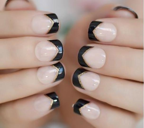 24PCS Black French Designed Press on Nails