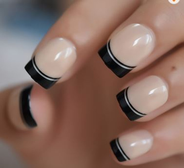 24PCS Black French Double Line Designed Press on Nails
