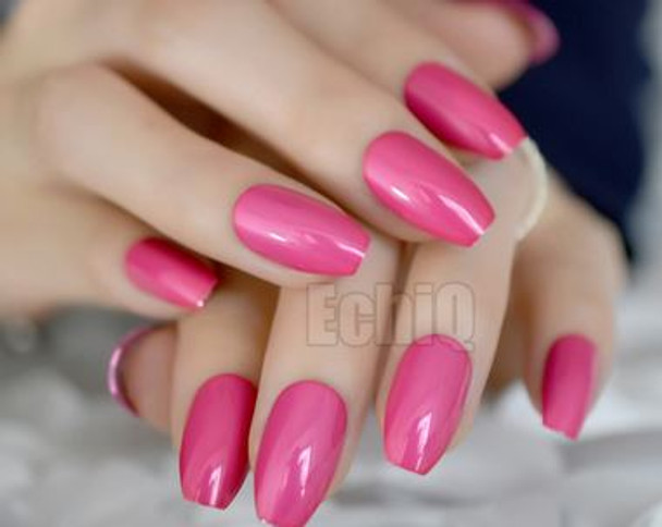 24PCS Hot Pink Metallic Designed Press on Nails