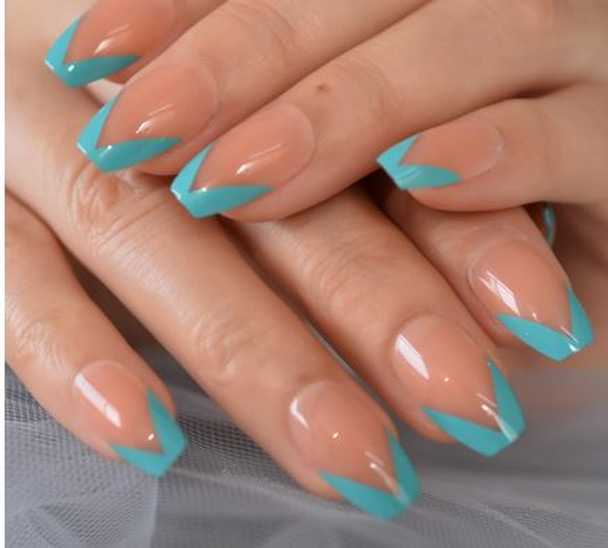 Blue French VShaped Coffin Shaped Press on Nails
