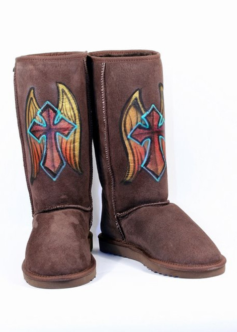 Penelope Wildberry Metallic Wings & Cross Boot