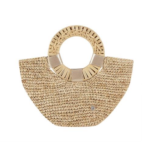 Florabella Gili Crochet Raffia Small Tote Natural/Gold