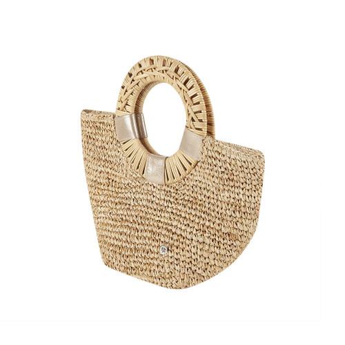 Florabella Gili Crochet Raffia Large Tote Natural/Gold