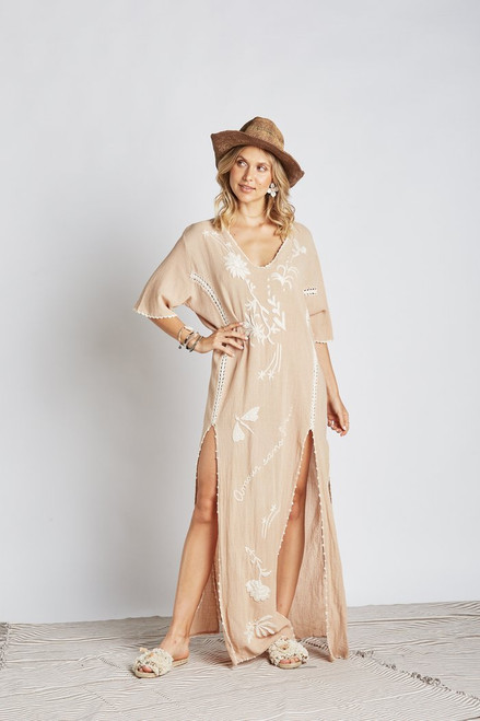 Boho Fleur Kaftan Dress Sand