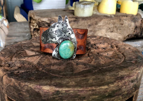 Horsehead Leather & Turquoise Cuff Bracelet