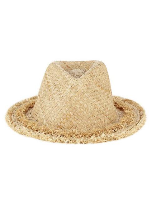 Florabella Angie Raffia Fedora Beach Hat Natural