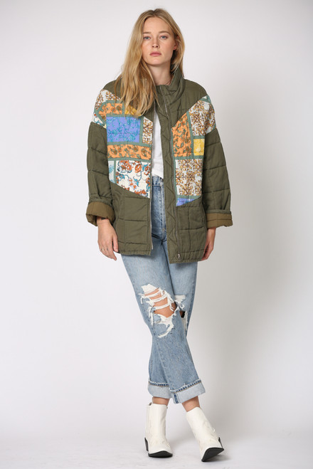 The Patchwork Quilted Jacket Olive