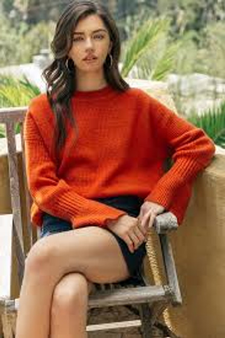 Pumpkin Spice Pullover Sweater Bell Sleeve