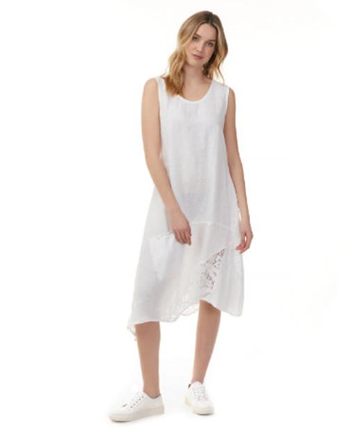 Charlie B  Asymmetrical Linen & Lace Dress