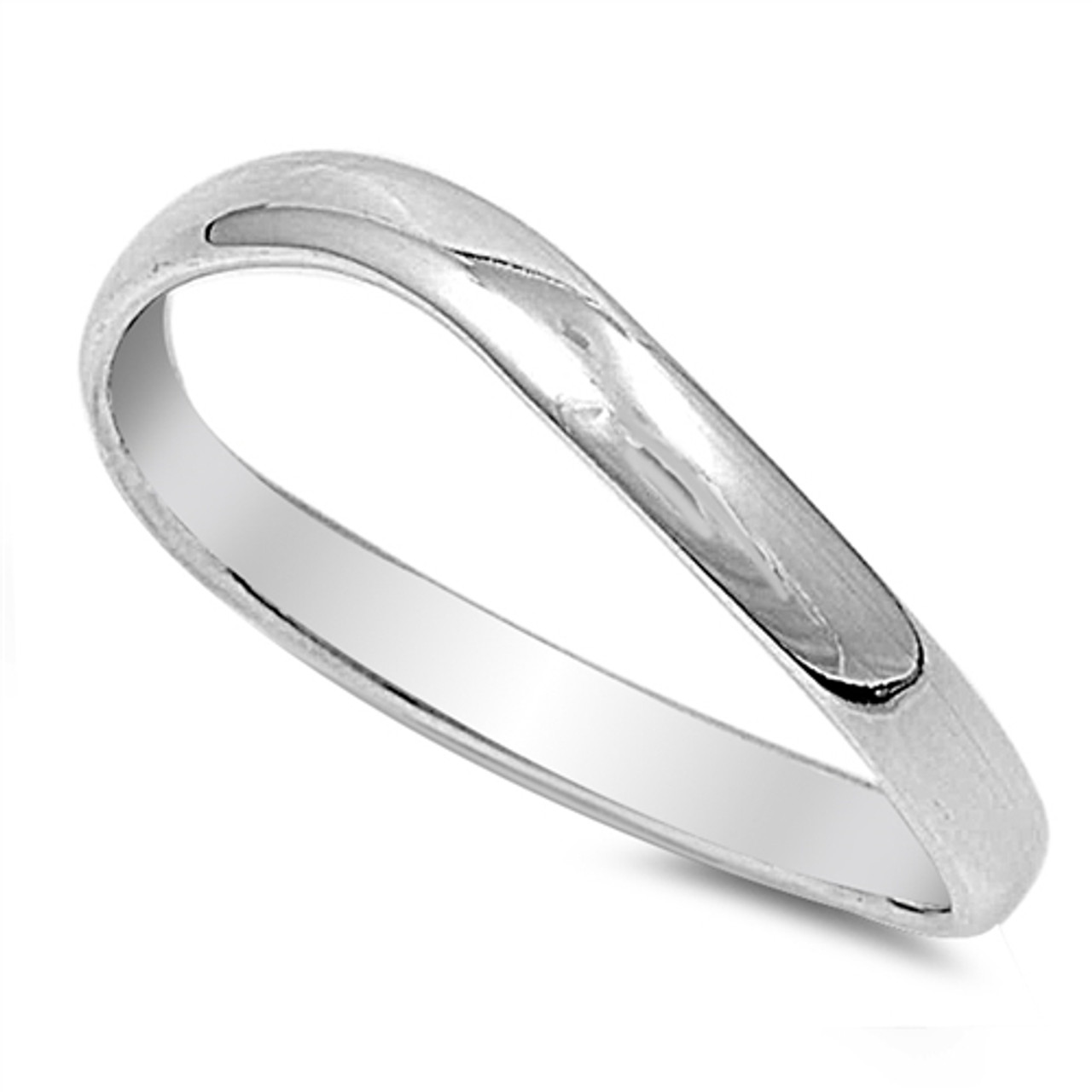 925 STERLING SILVER Plain Curved Wedding Ring 3mm Band - Shendell s ... d71859f5b