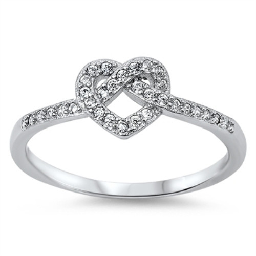 Ladies Sterling Silver Simulated Diamond Love Heart Infinity Knot Ring