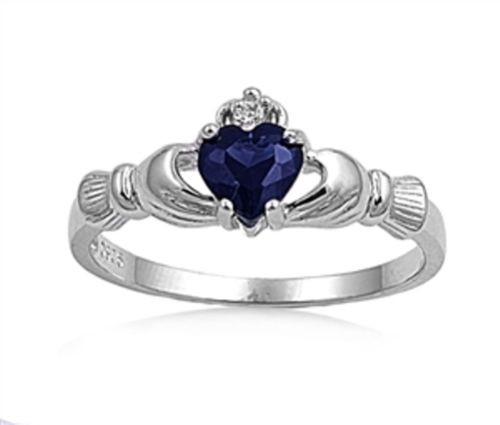 Ladies Sterling Silver Blue Sapphire CZ Irish Claddagh Plus Size Ring