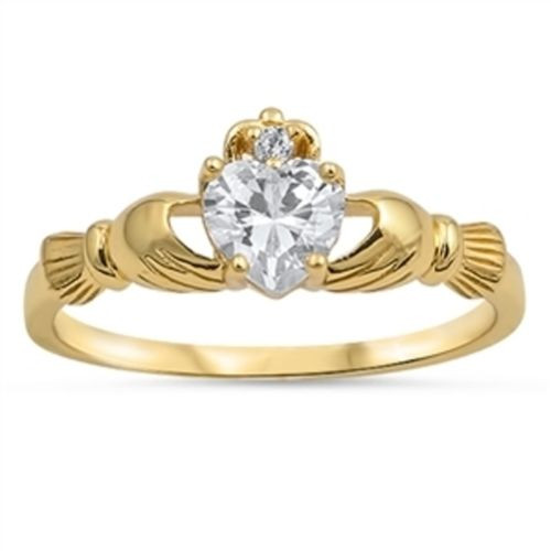 Ladies Yellow Gold over Sterling Silver Simulated Diamond Irish Claddagh Ring
