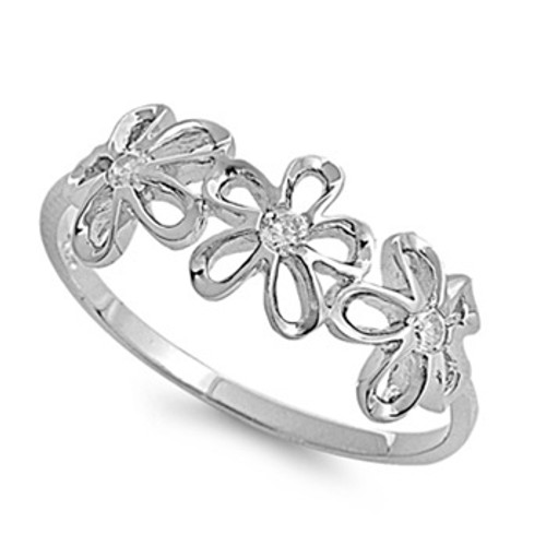 Sterling Silver 925 Simulated Diamond Daisy Flower Ring