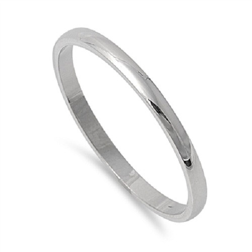 Silver Stainless Steel Plain comfort fit Wedding Band / Ring