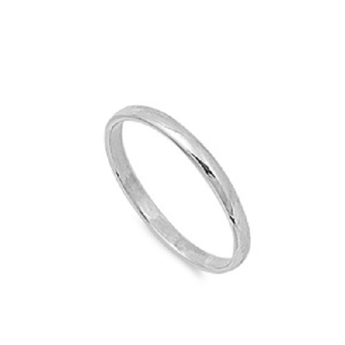 Sterling Silver 925 Plain Wedding Ring Band 2mm