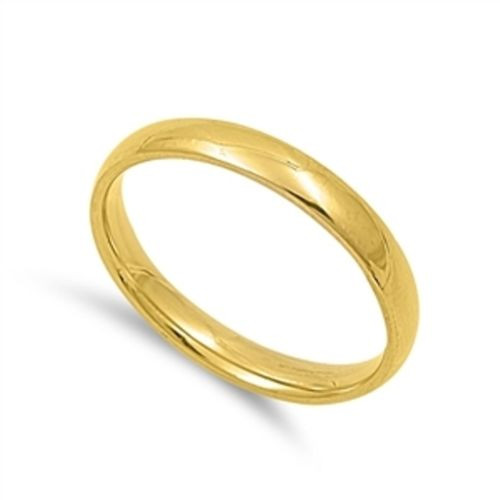 Ladies Gold Stainless Steel Comfort fit Plain Wedding Ring Band 3mm