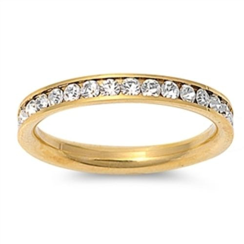 Gold Plated Crystal Wedding Eternity Ring Band Stackable