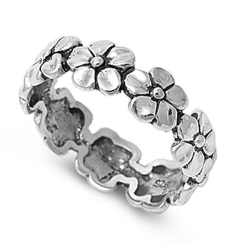 Brand New Oxidised Sterling Silver Daisy Flower Chain Dress Ring