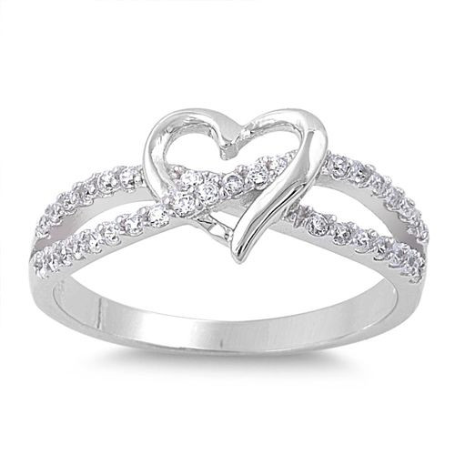 925 Sterling Silver Simulated Diamond Infinity Love Heart Promise Ring