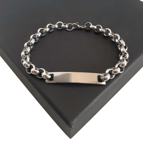 Ladies Custom Made Long Length Big Size Silver Stainless Steel Belcher Bracelet With ID name tag Center Piece