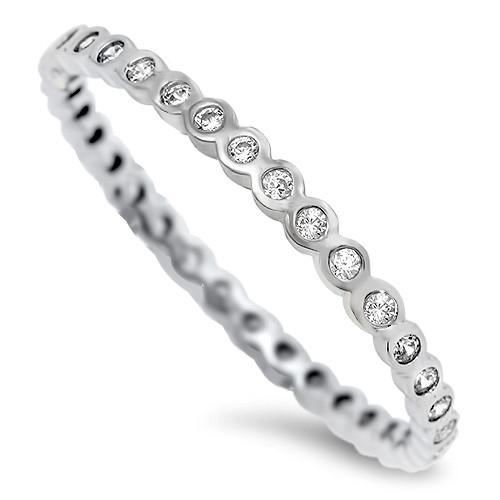 Sterling Silver 925 Brilliant Cut Alluring Wedding Eternity Ring Band
