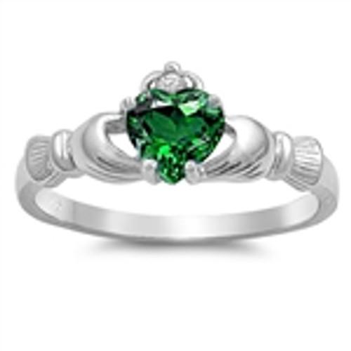 Sterling Silver 925 Emerald CZ Irish Claddagh Love Ring