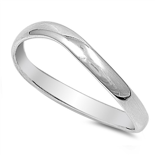 Brand New Sterling Silver 925 Curved Wedding Band / Ring