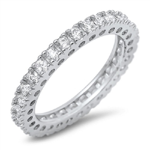 Sterling Silver Simulated Diamond Plus Size Wedding Eternity Ring