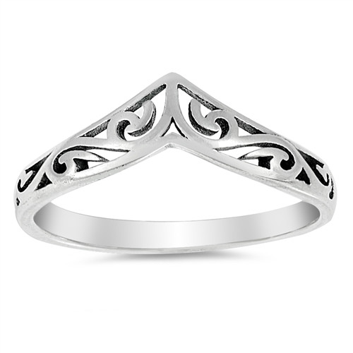 STERLING SILVER 925 V Point Filigree Wishbone Boho Ring