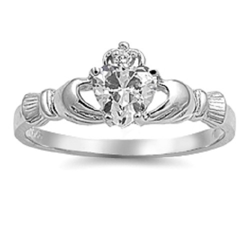 STERLING SILVER Clear CZ Irish Celtic Claddagh Love Heart Ring