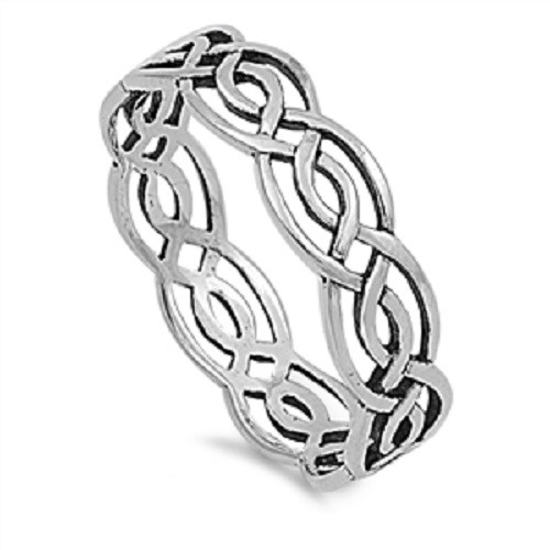 Sterling Silver 925 Cross Over Weave Dress Ring